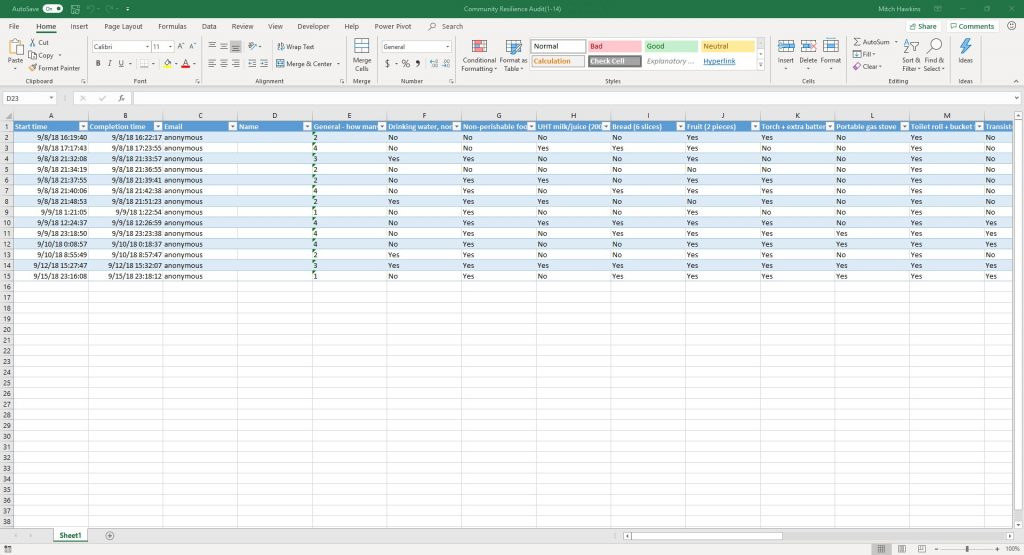 Microsoft Forms results download to Excel