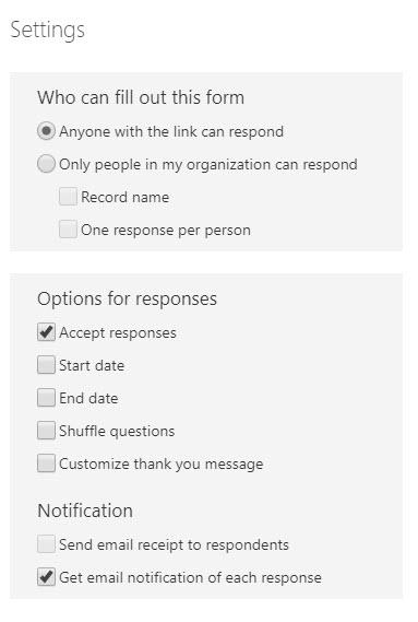 Microsoft Forms settings dialog box